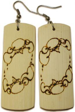 Rectangular Woodburned Earrings