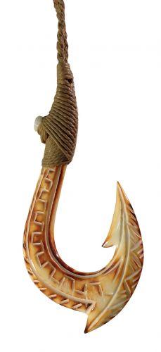 Burnt Bone Hook w/ carving