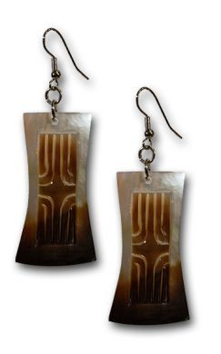 Black Mother of Pearl Earrings with Carving
