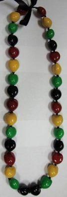 Rasta Style Kukui Nut Necklace
