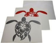 Large Turtle/Hibiscus Vinyl Decal Sticker