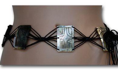 Carved Rectangle Shell Belt
