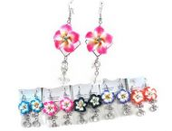 Fimo Flower Earrings with Crystal