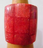 Red Coral with Shell Ring