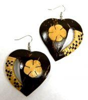 Samoan Coconut Earrings-Heart